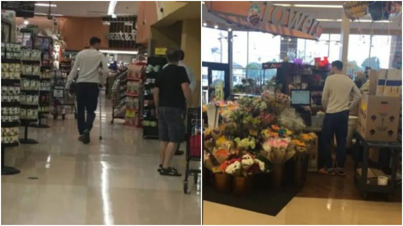 受傷10天後,K湯首度現身老家洛杉磯,拄著拐杖在超市里購物!