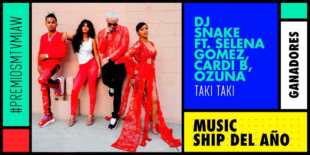 #TakiTaki ¡Que siga la rumba! Con este merecido premio en la categoría Music Ship del Año en los #PremiosMTVMIAW 🎉🎉🎉🎉