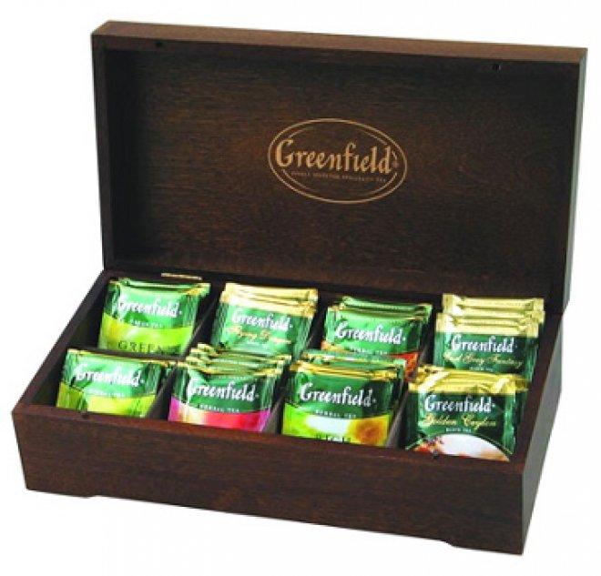 чай гринфилд в деревянной шкатулке купить