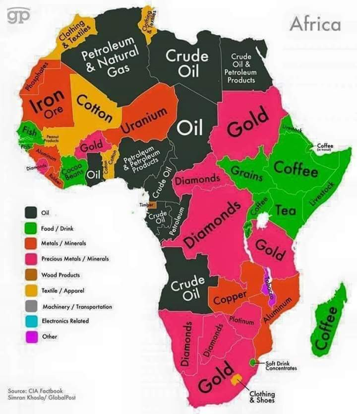 Help me on this one quickly: Africa is rich in oil, minerals, wood products, gas, coffee, cotton, food products etc and yet it remains the poorest continent in the world. #mondaythoughts what can the reason be? <br>http://pic.twitter.com/tCEq8WeGQi