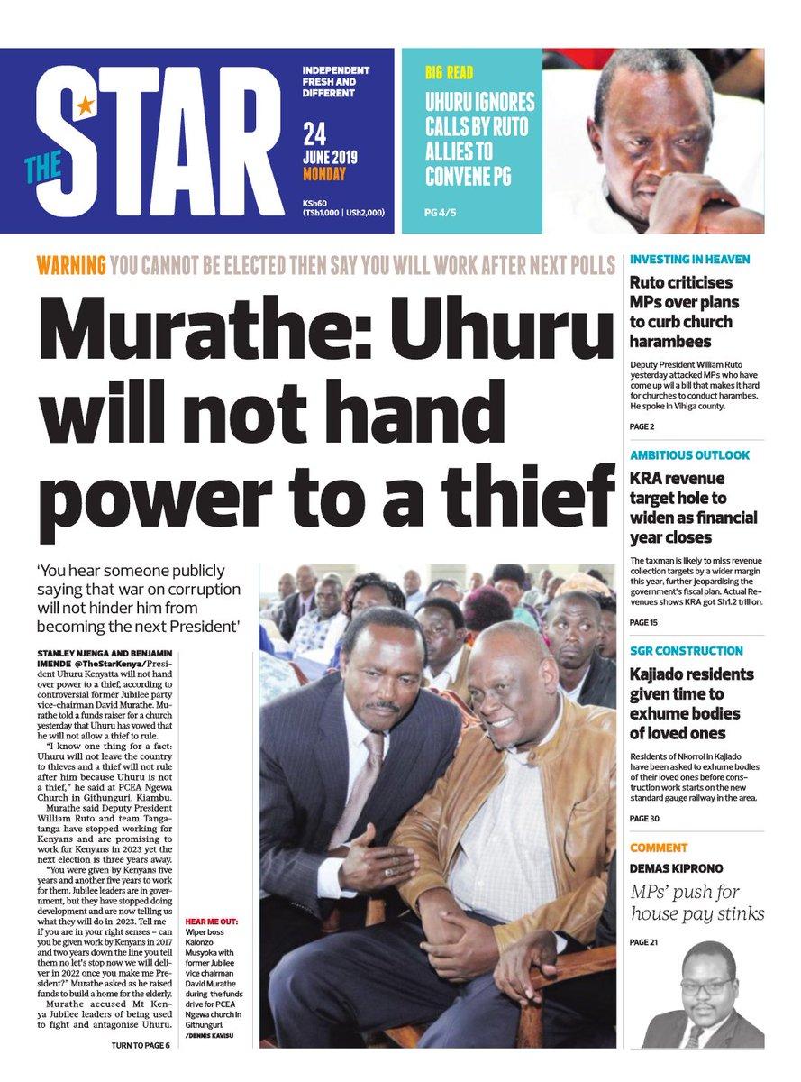 In Today's Star: Murathe: Uhuru will not hand power to a thief https://www.thestarepaper.co.ke/