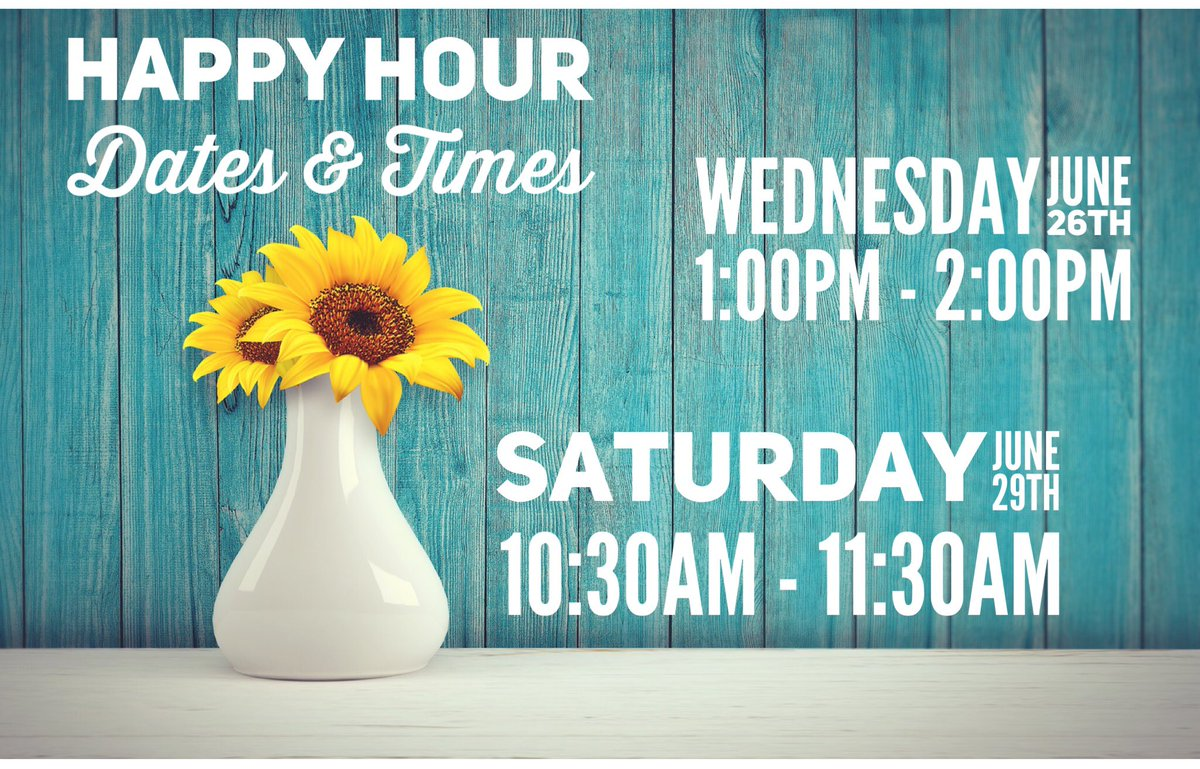 Here are the times and dates for our happy hours this week! Everything in the store is on sale during this hour!! Can't wait to see you all! #chooseused #happyhour <br>http://pic.twitter.com/YopUttPyNv