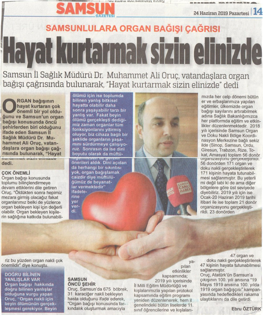 """Basında Sağlık Müdürlüğümüz - """"Sağlık Müdürümüzden Organ Bağışı Çağrısı""""   @muhammetalioruc"""