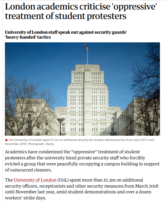 Disturbing revelations on @UoLondon managements tactics to crush dissent. @Londonu would rather spend £1.3m in just a few months (total will be higher) to repress protests, than sit down & negotiate with its workers. More reason to #boycottsenatehouse theguardian.com/education/2019…