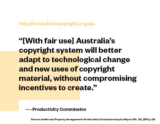 Perspectives on #fairuse – #copyright must adapt to new technology and uses of content: @ozprodcom #faircopyrightoz  http://www. faircopyright.org.au  &nbsp;  <br>http://pic.twitter.com/Mwb9HOr6LX