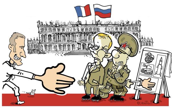 MACRON et POUTINE à VERSAILLES. Le dessin du Monde de ce lundi 29 mai.