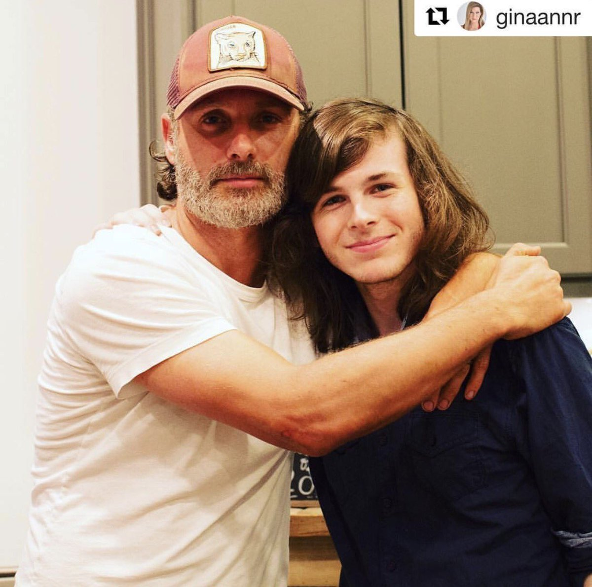 Night  Andy surprised Chandler at his graduation party #TWDfamily  ~ #AndrewLincoln #ChandlerRiggs  IG: ginaannr #TheWalkingDead #TWD<br>http://pic.twitter.com/RXQo8AiRrz
