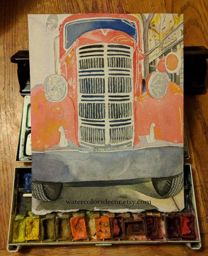 Firetruck watercolor in Stage ll...   http:// watercolorsdecor.etsy.com  &nbsp;    #firetruck #watercolor #paintinginprogress #artprogress #truck #art #wallart<br>http://pic.twitter.com/AdCKbaANGp