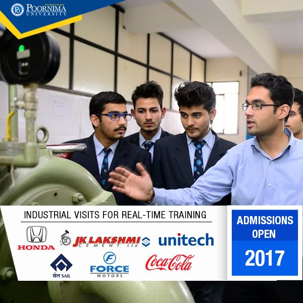 Poornima University offers various opportunities to gain #practical skills through regular #industrial visits.  http:// bit.ly/Admissions-2017  &nbsp;  <br>http://pic.twitter.com/sFYB9zPY1h