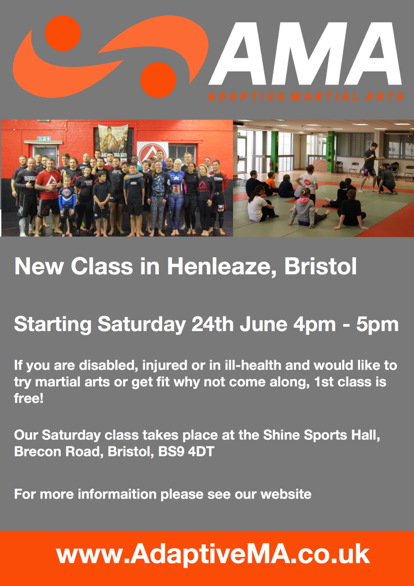 We are really pleased and excited to offer new classes! #Bristol #Disabled #DisAbled #Sport #SportAbility<br>http://pic.twitter.com/0zgK80bJnl
