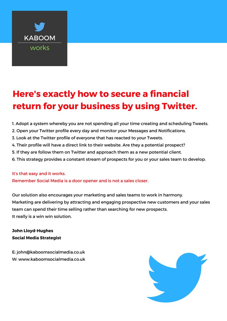 Twitter alone WILL NEVER convert people into clients.  https://www. kaboomsocialmedia.co.uk / &nbsp;    #print #printing #digital #mailing #marketing #design #leeds<br>http://pic.twitter.com/l22UWcBx5O