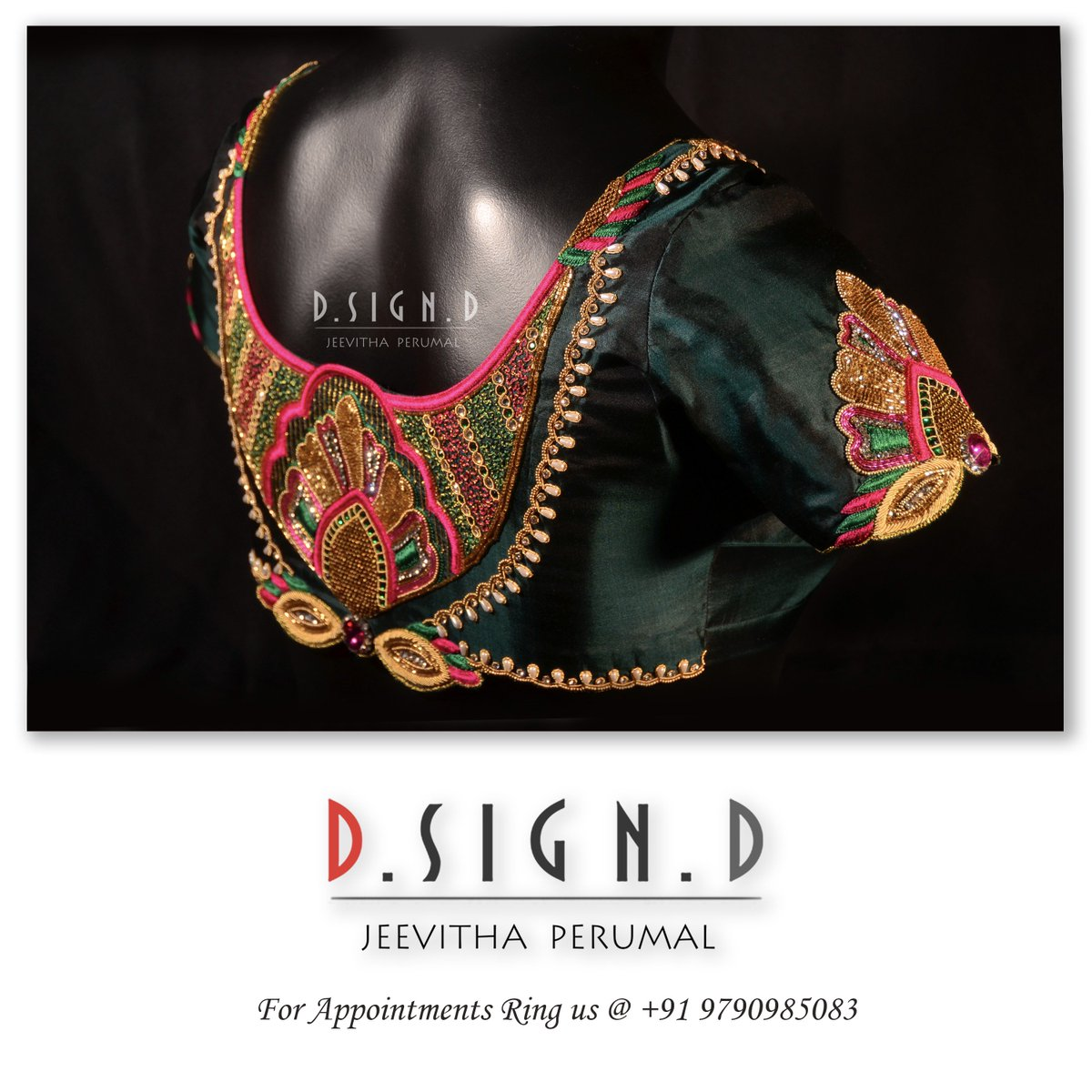 bf9812e0c22d52 green stone work bridal blouse from @Dsignd2 #dsignd #dsigndstudio  #jeevithaperumal #bridalblouse