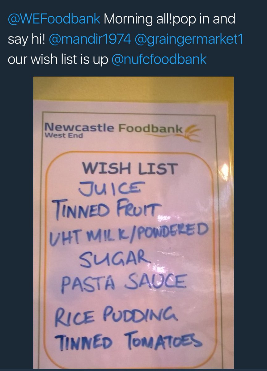 Here is the @NUFCFoodBank WishList for @GraingerMarket1 Donation Station open all day Thanks #GenerousGeordies #NUFC <br>http://pic.twitter.com/eewxGZHley