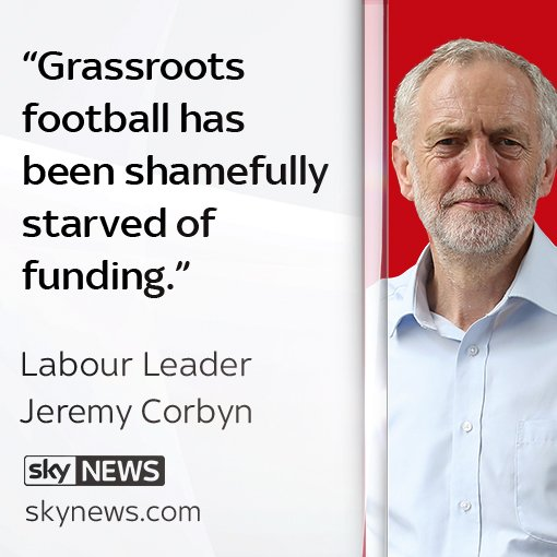 Labour's @jeremycorbyn pledges to divert football's TV rights money to the grassroots game. More on the story: https://t.co/qfJgBi4XhX