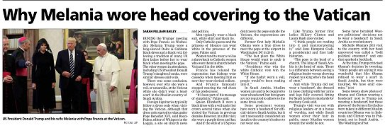 #Insight  Why @FLOTUS wore head covering to the Vatican  @spulliam #SatStar<br>http://pic.twitter.com/adw9eOe9ZK