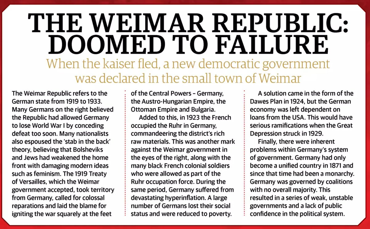 why was the weimar republic doomed from the start