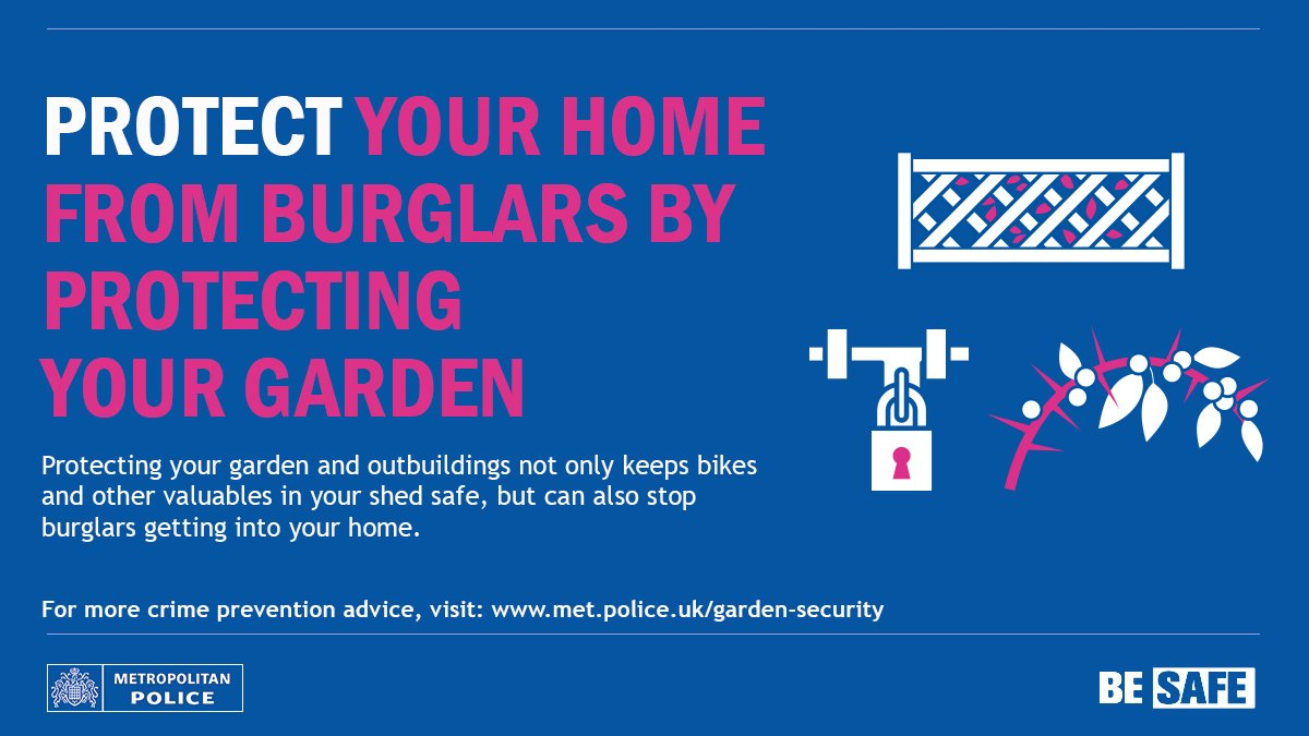 In this warm weather, protect your garden and shed with locks &amp; gates. Don&#39;t leave items out in the garden for burglars to steal HN #BeSafe <br>http://pic.twitter.com/Os8T7aqVmi
