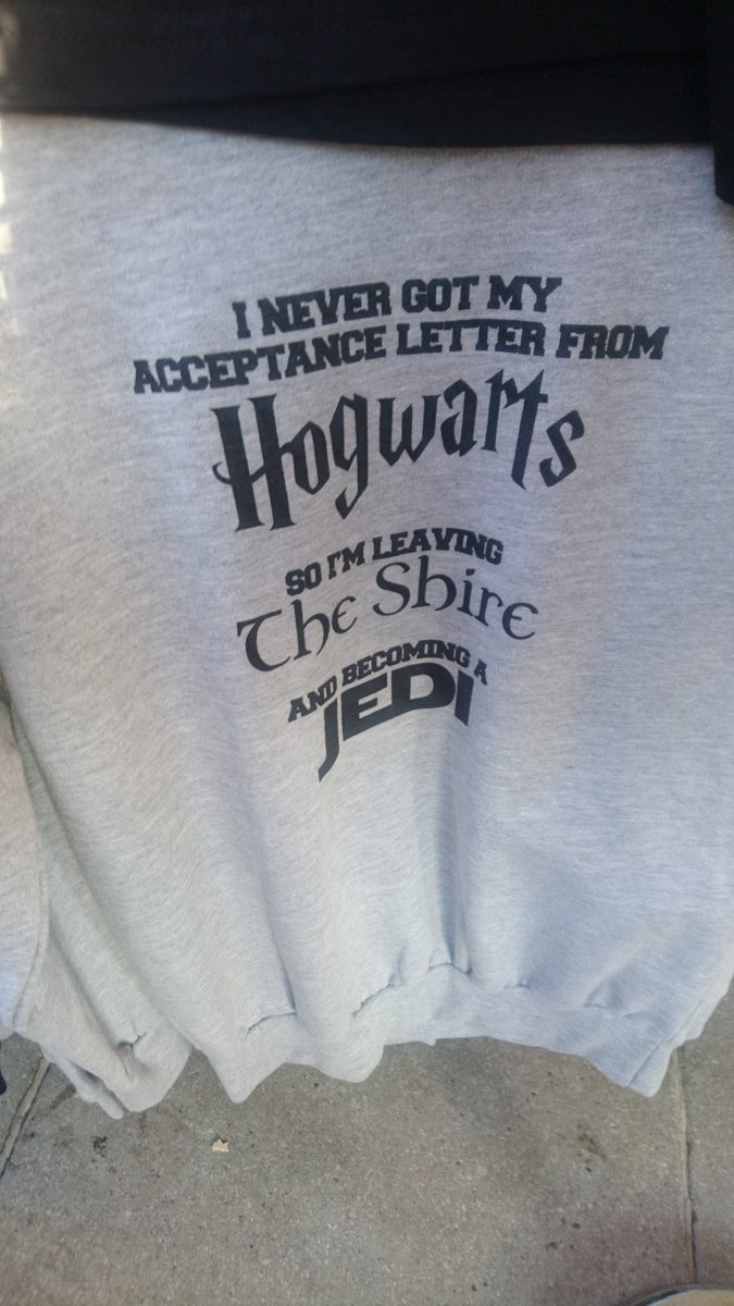 Just seen: #Hogwarts #HarryPotter @HarryPotterFilm @HPPlayLDN  #Theshire #LordOfTheRings #LOTRS #Jedi @starwars #Starwars all in one jumper!<br>http://pic.twitter.com/lCgQsqNVUi