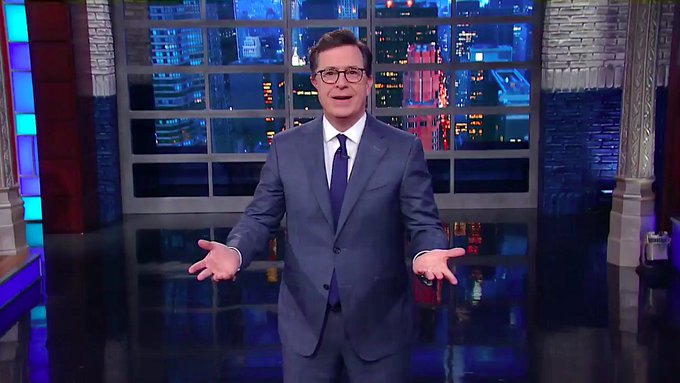 Stephen Colbert on Trump's NATO shove: 'That's the kind of shoving that belongs in the buffet line at Mar-a-Lago' https://t.co/warx9a2F8H