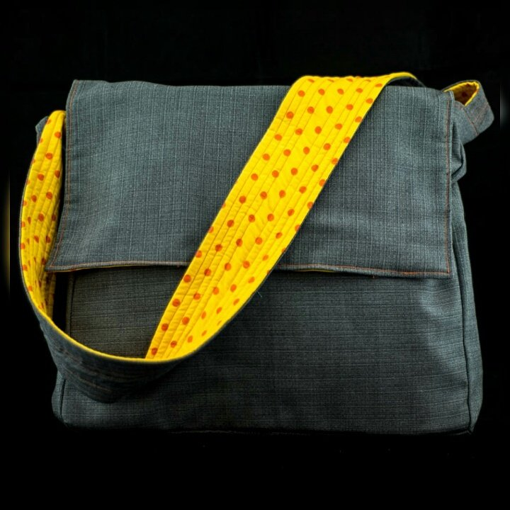Love this large messenger bag with a contrasting yellow with orange spots lining.Handmade by us here at Amelia&#39;s Grotto #handmade #forsale <br>http://pic.twitter.com/lZZZAPWteu