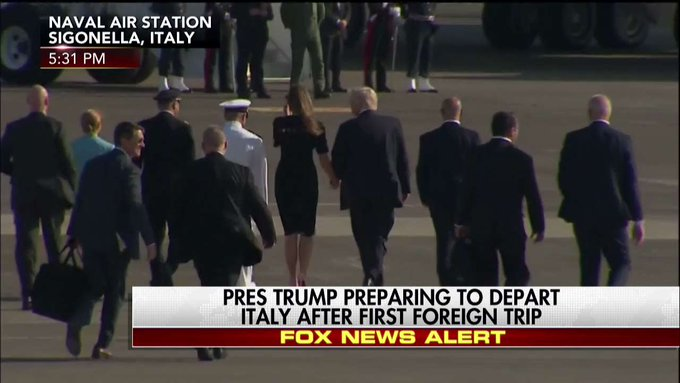 .@POTUS, @FLOTUS, and their team prepare to depart Italy after first foreign trip.