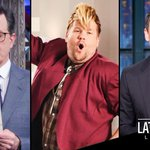 """Late-Night Lately: @ColbertLateShow """"Twitter-vention,"""" @JKCorden's latest performances, mocking Trump's trip abroad https://t.co/UeYd17yiOF"""