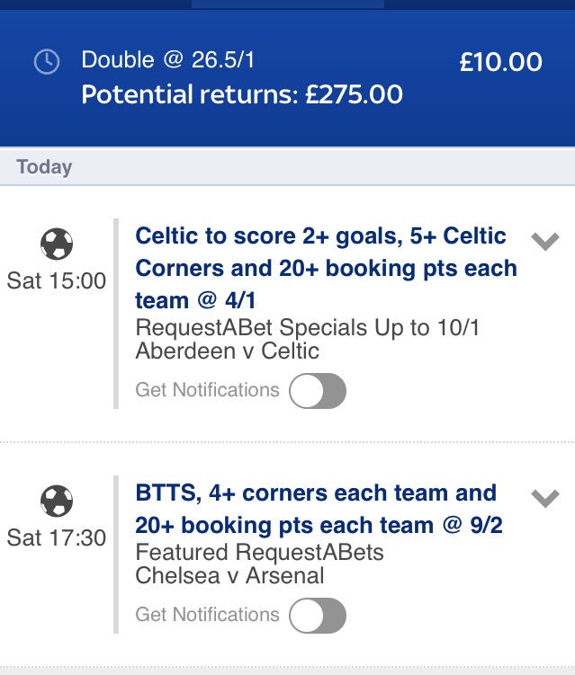Today&#39;s bets #RequestABet #bettingtips #bookiebashing #Tips #acca #bets #football #FACupFinal<br>http://pic.twitter.com/Gi0DUwGxnC