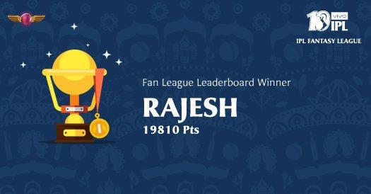 Congratulations to Rajesh for winning the @RPSupergiants #FanLeague in the #IPLFantasy. #VIVOIPL #RangWahiJungNayi