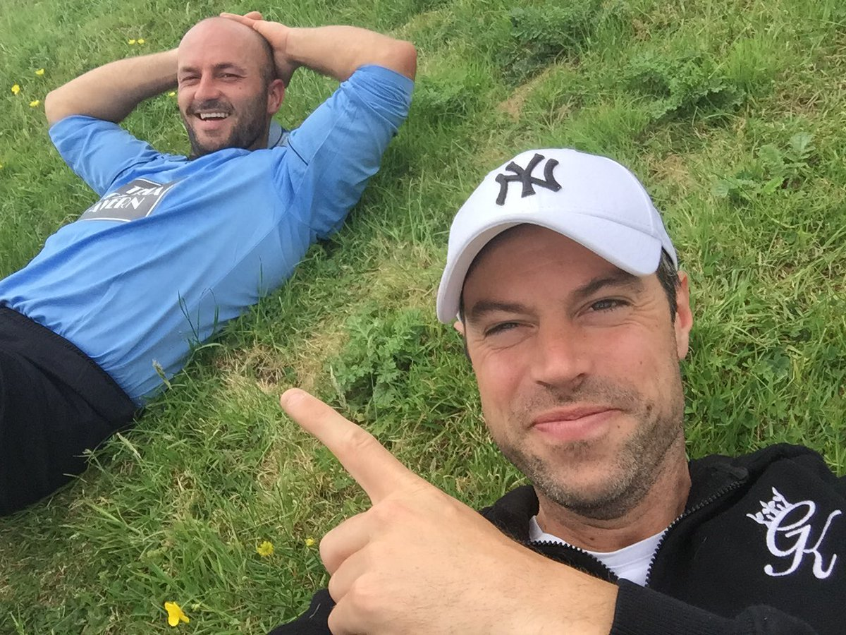 With the boys @butler_smythe &amp; @David2Stevenson playing football and raising money 4 @kickoff4cancer #charity #TheApprentice @bbcapprentice<br>http://pic.twitter.com/Ccfi4GavWE