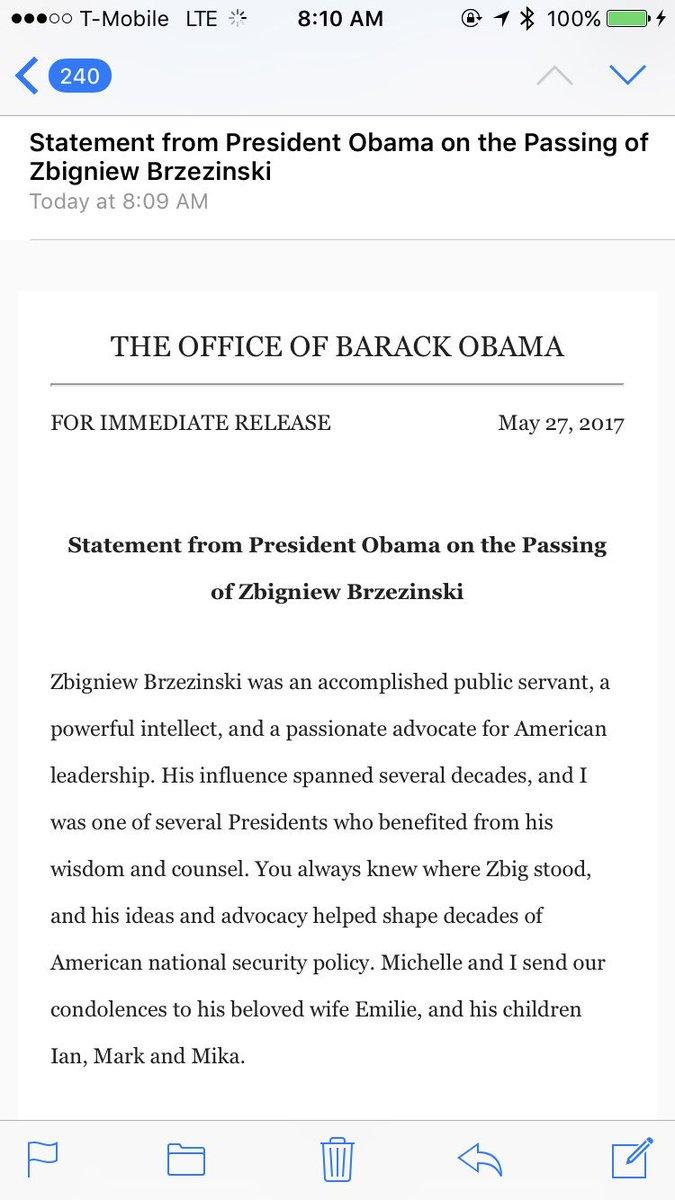 Statement from President Obama on the Passing of Zbigniew Brzezinski