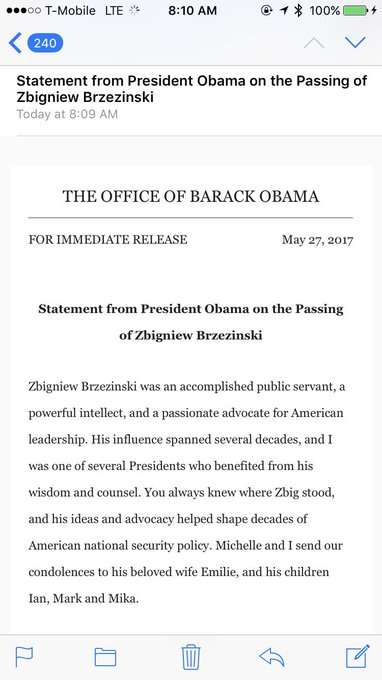 Statement from President Obama on the Passing of Zbigniew Brzezinski