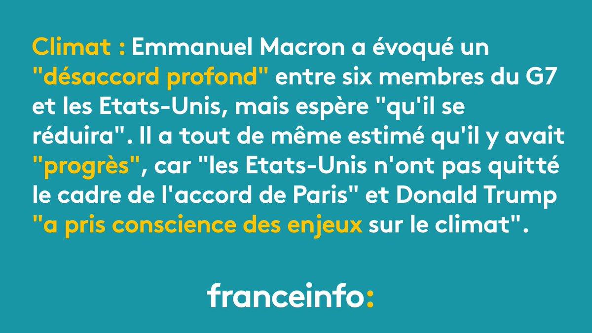 Emmanuel Macron pointe un  'désaccord ' mais aussi des  'progrès ' sur le climat avec les Etats-Unihttps://t.co/csrMpz2bPqs