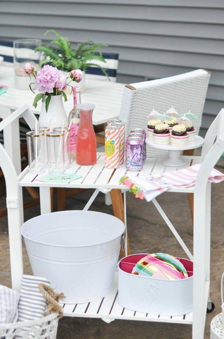 DIY painted patio bar cart plus easy patio happy hour ideas -
