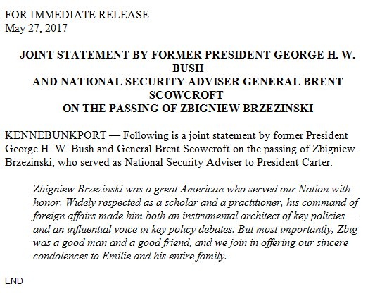 Joint statement by @GeorgeHWBush and Brent Snowcroft on the passing of Zbigniew Brzezinski.