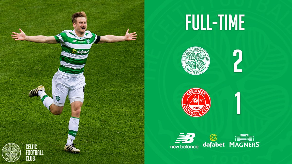 FULL-TIME: #CelticFC 2-1 @AberdeenFC   @Tom_Rogic's goal in extra-time seals #ScottishCupFinal victory and the Treble for the Hoops!