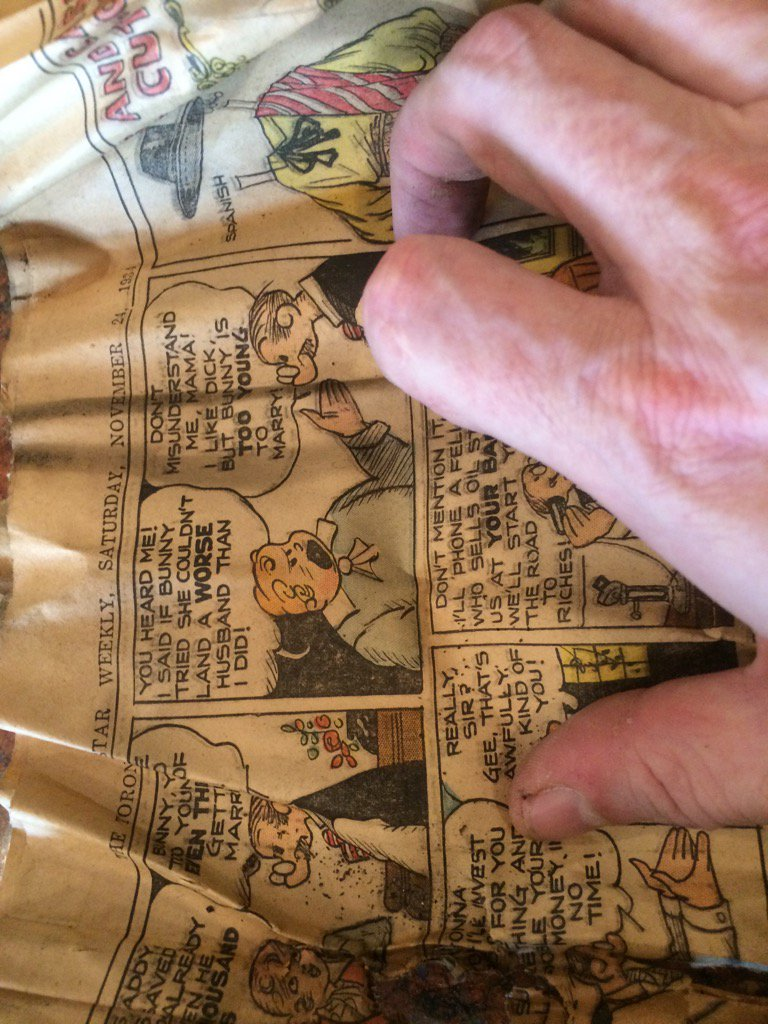 Ripping open my ceiling (as one does) I found a 1934 Toronto Star comics section (Strip: 'It's Papa Who Pays')