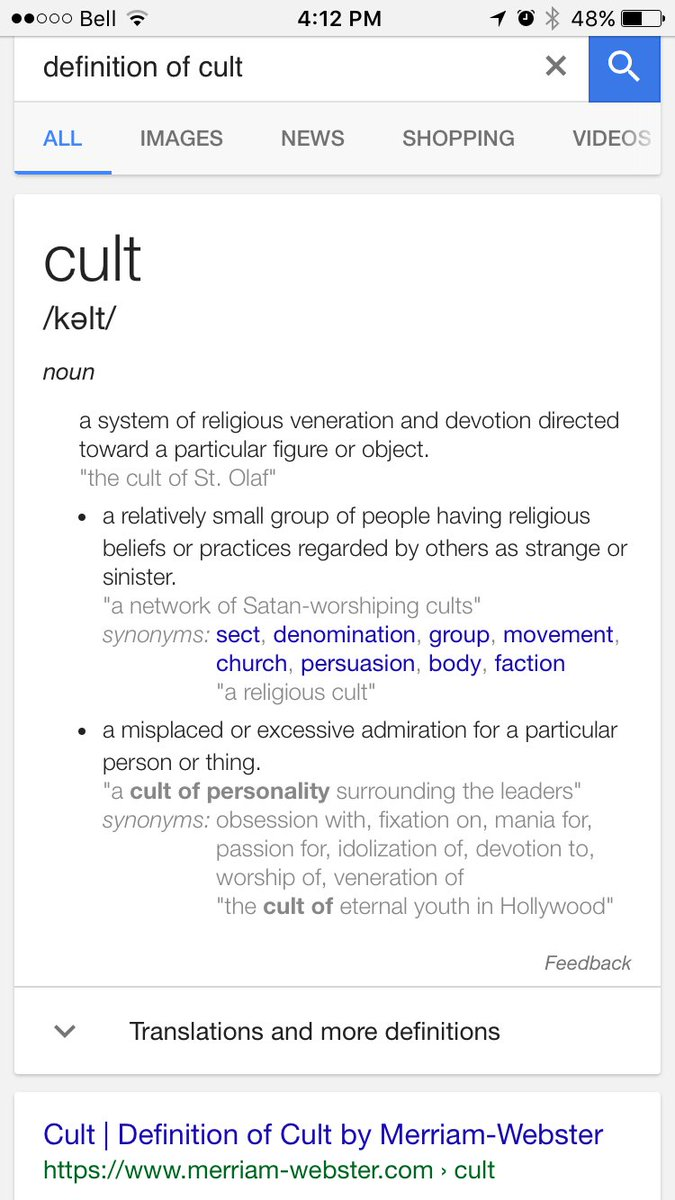 "michelle on twitter: ""i use the actual definition of 'cult' - anti"