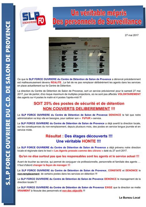 SLP FO CD de Salon on Twitter Un mpris total des personnels de