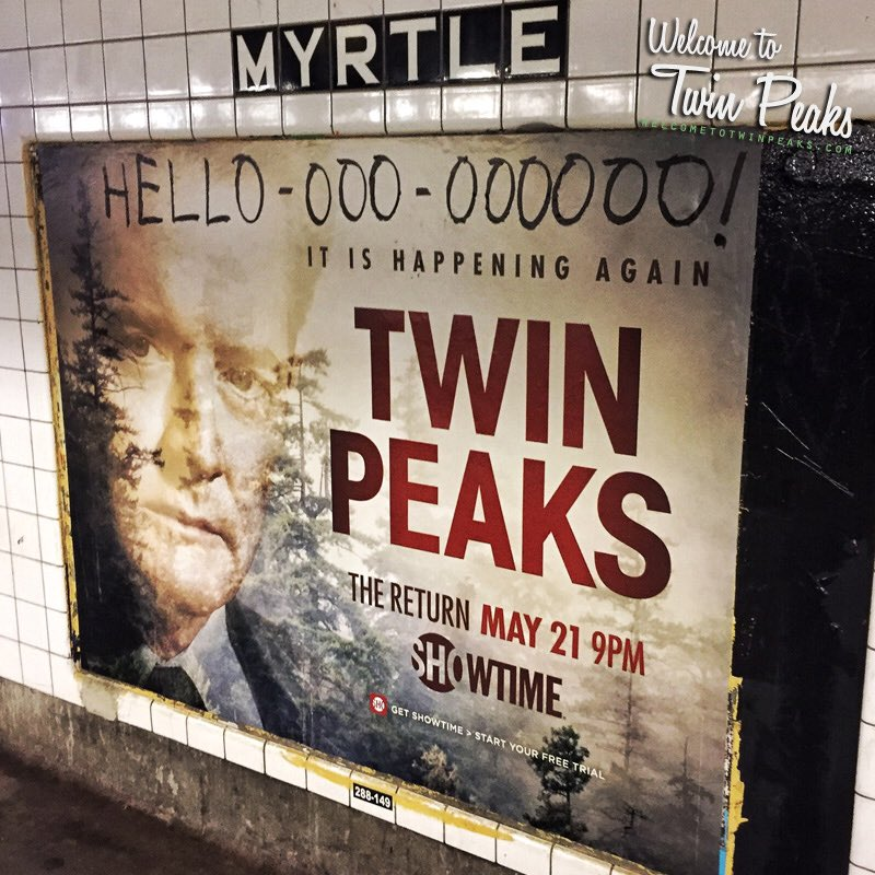 #TwinPeaks subway poster with updated tagline spotted in NYC! /cc @Kyle_MacLachlan https://t.co/bP1NioIZop