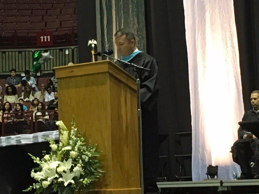 .@DublinCoffmanHS Principal Mike Ulring addresses parents and graduates. #DCSgrads17 https://t.co/qPsf1oOEud