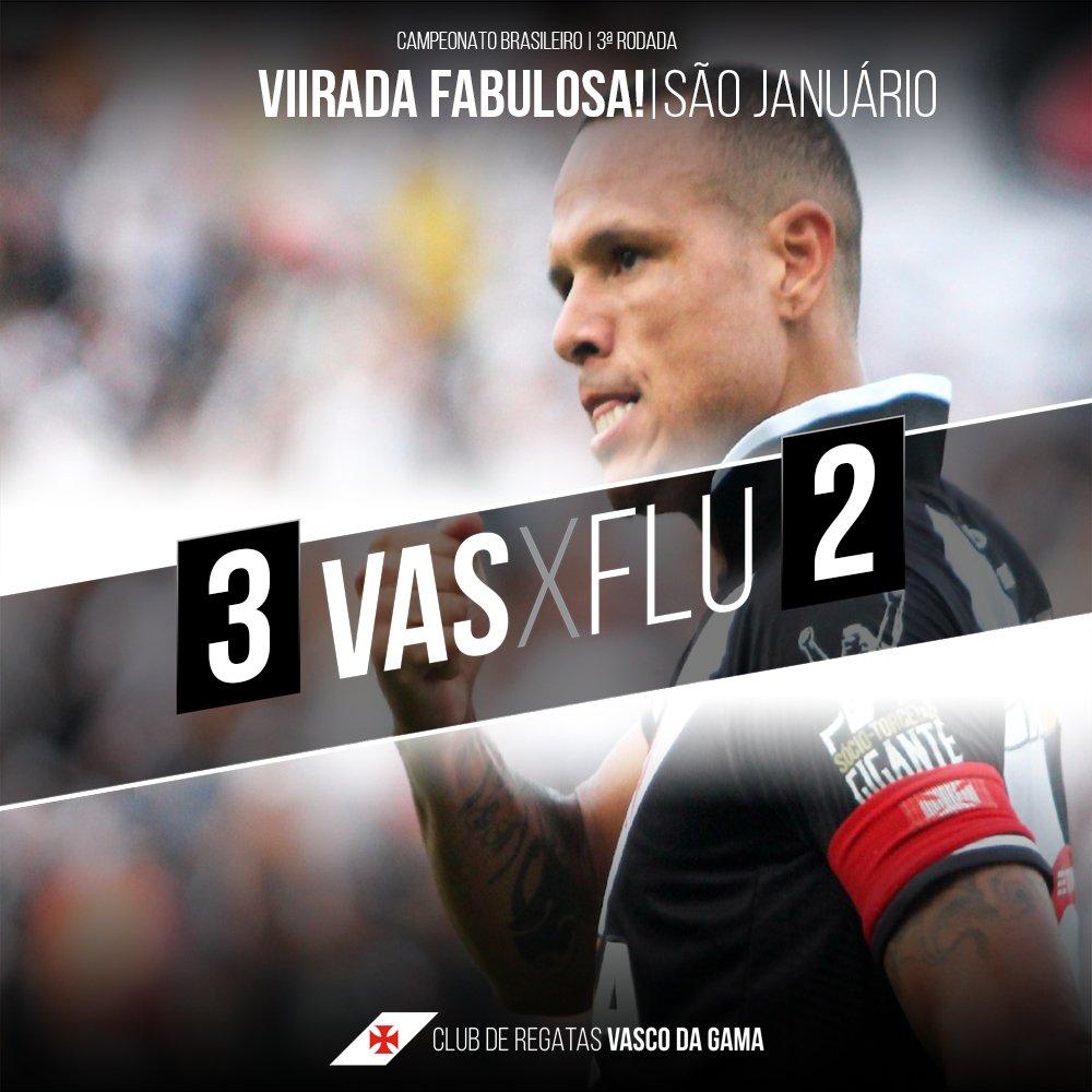 Em São Januário, quem manda o Vasco! Com uma virada para ficar na história, Vascão vence o Fluminense por 3 a 2. #VASxFLU