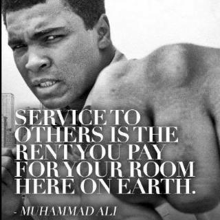 Service to others is the rent you pay for your room here on earth.#ThinkBIGSundayWithMarsha.#ServiceAlert.#M.Ali <br>http://pic.twitter.com/fckIsizMYu