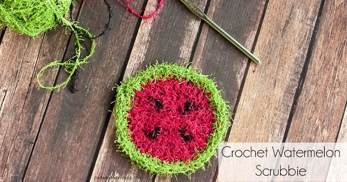 Crochet Watermelon Scrubbie Pattern