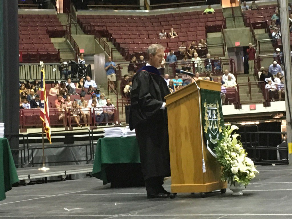 .@dublinjeromehs Principal Dr. Dustin Miller addressing parents, students, and staff. #DCSgrads17 https://t.co/Uy3MOYx6uk