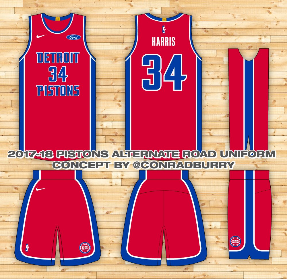promo code 95cc0 bccbb Here s a couple more options for a Pistons red alternate uniform. Still  working on black, navy and some home alternate options.  Thoughts pic.twitter.com  ...