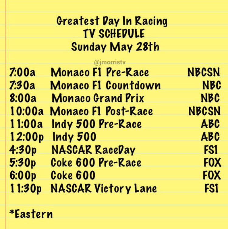 Reminder!!! Best day of racing!!! TV Schedule....TOMORROW https://t.co/GWXKhsv83m