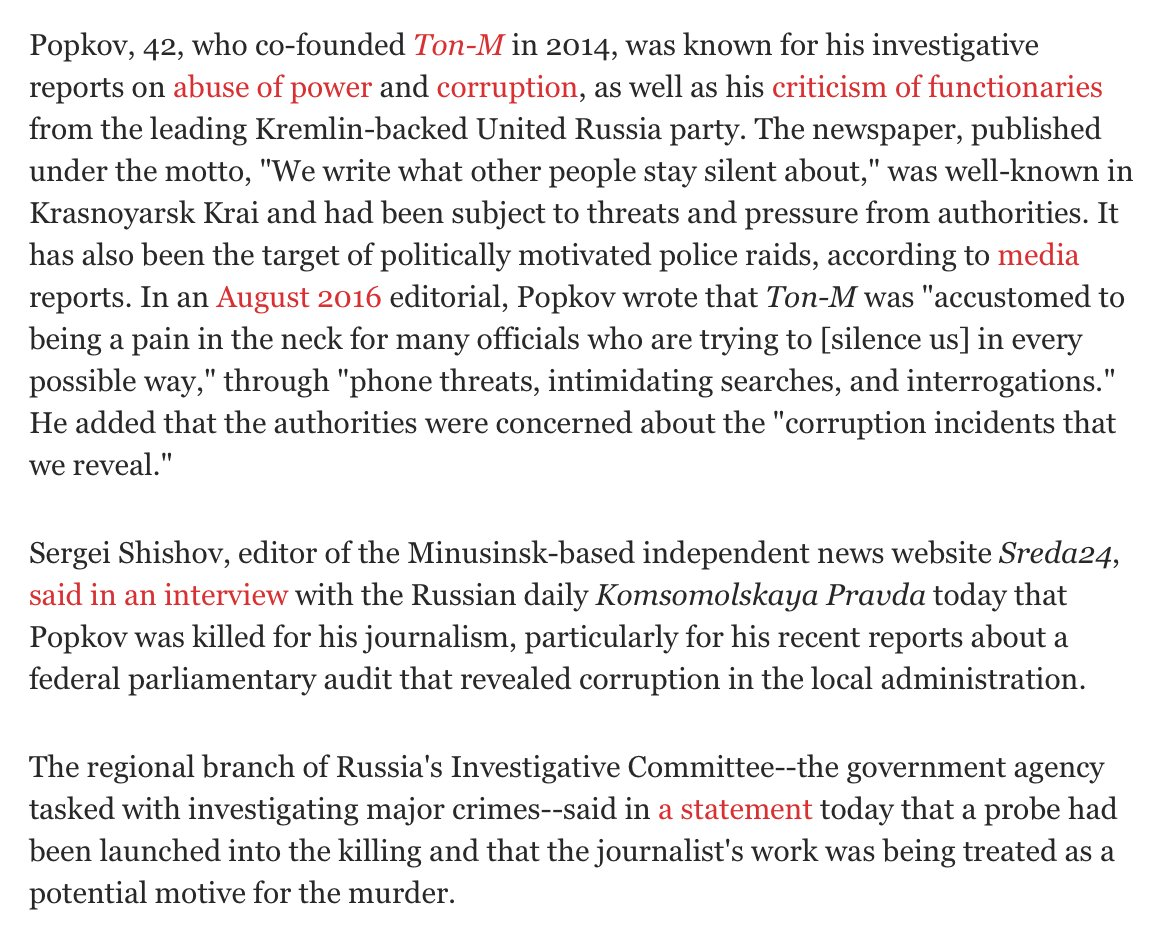 Dmitry Popkov, a Russian journalist who reported on corruption and abuse of power, was just murdered. https://t.co/4ZUqP8Q9XX
