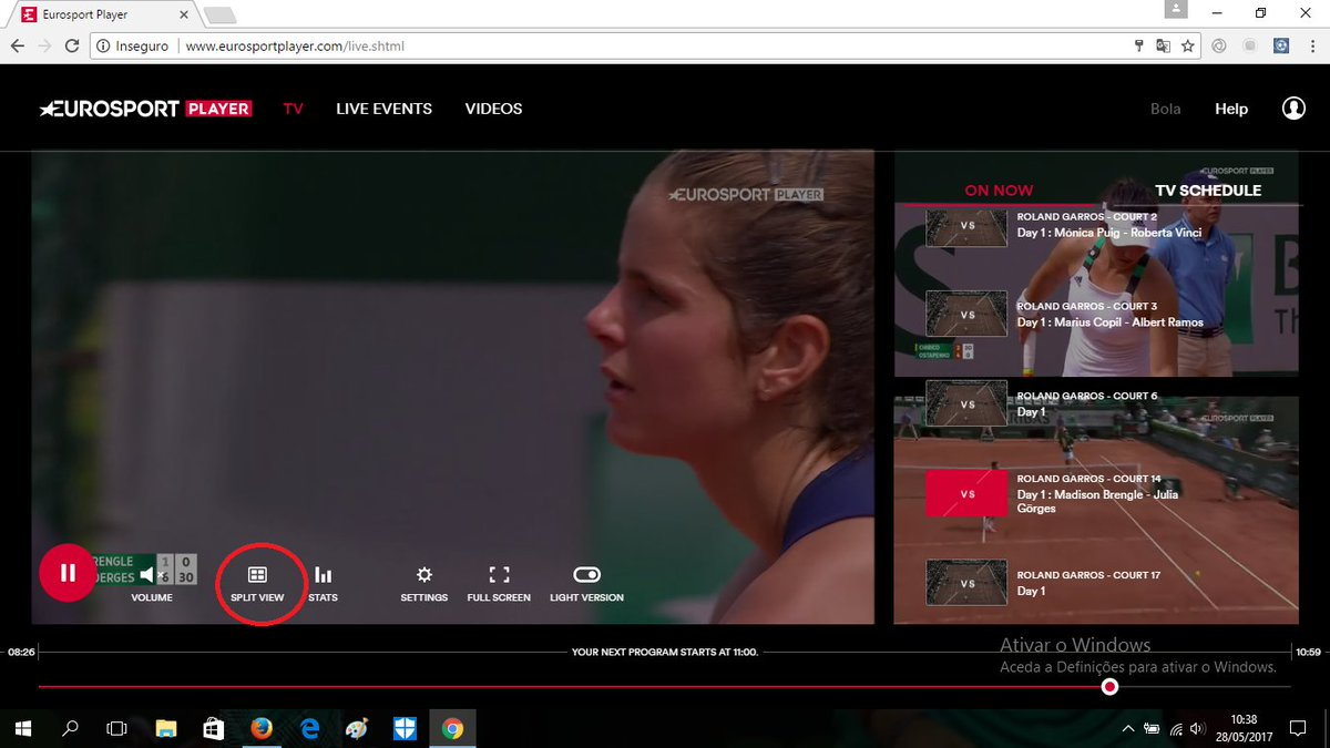 video eurosport player