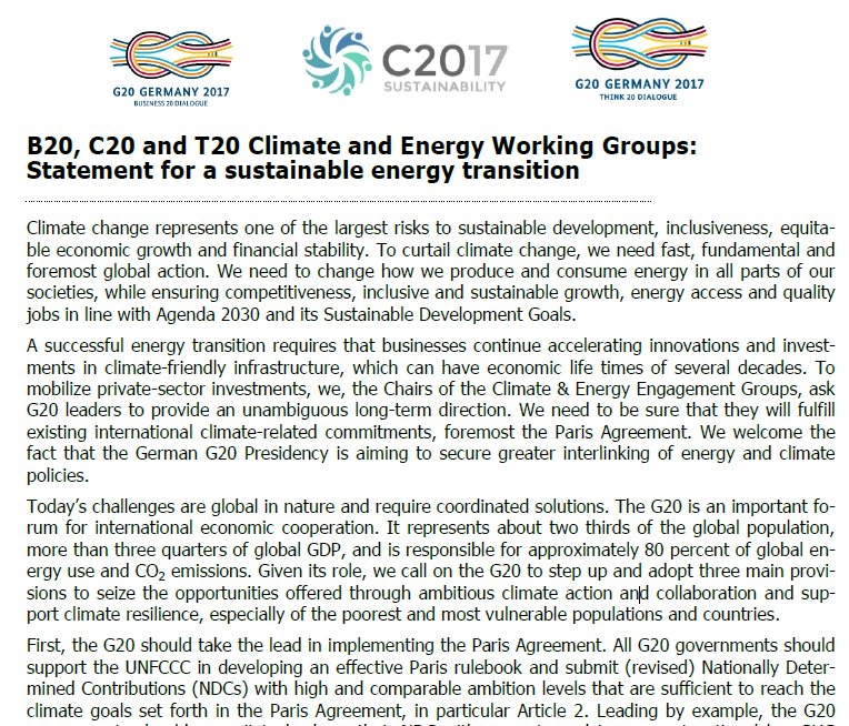 After #G7 it is even more important that #T20Germany, @B20 & @civil20_17 stand together for strong #ParisAgreement https://t.co/OrEshRw5mq https://t.co/CzBFGAPheH