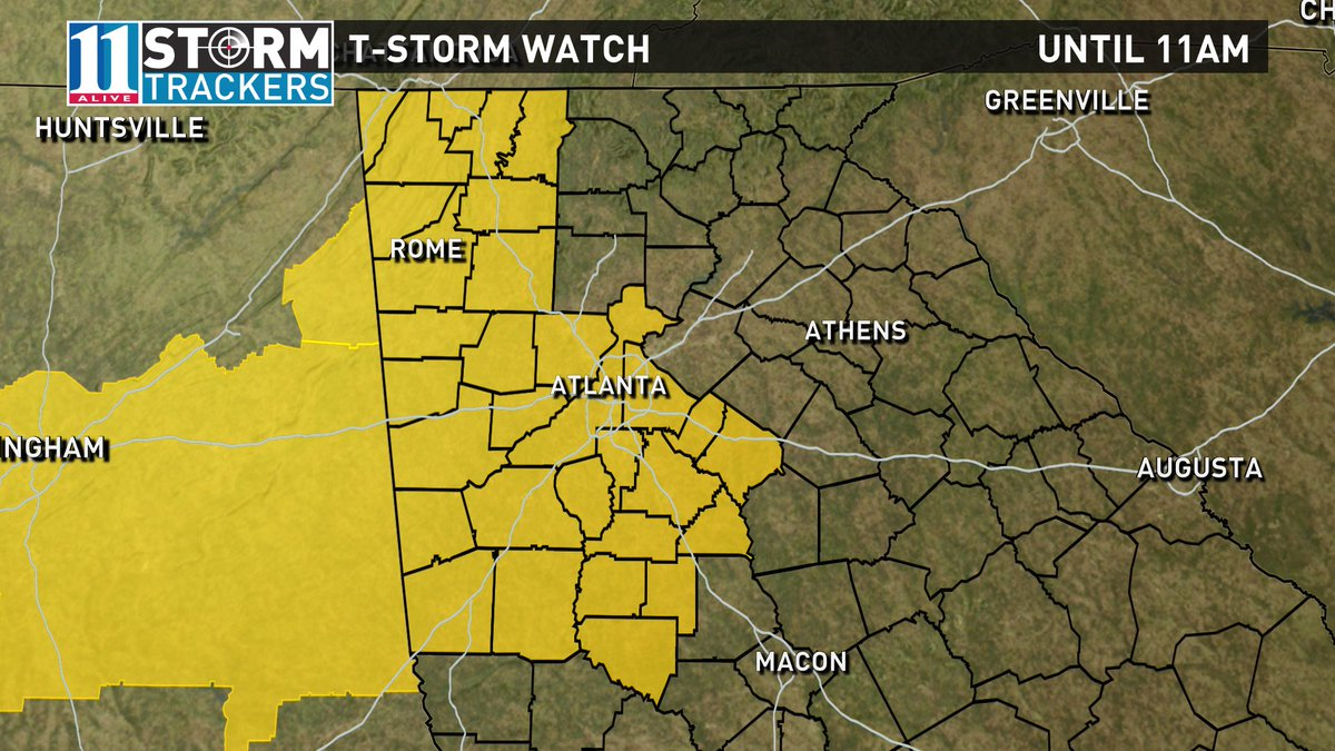 I'm in early on a Sunday AM tracking storms in west GA. TStorm watch for for much of the metro area until 11am.